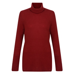 Magee 1866 Luxury Maroon Cashmere Roll Neck Jumper
