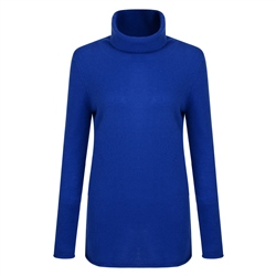 Magee 1866 Luxury Blue Cashmere Roll Neck Jumper