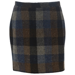 Magee 1866 Blue, Grey, Navy & Brown Checked Donegal Tweed Carey Skirt