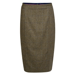 Magee 1866 Green, Purple & Blue Overcheck Donegal Tweed Dana Skirt