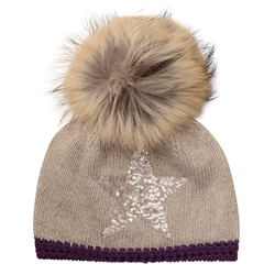 Magee 1866 Camel Sequined Star Beanie