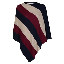 Magee 1866 Navy, Oat & Burgundy Striped Leah Poncho