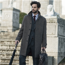 Magee 1866 Erne Raglan Brown Herringbone Donegal Tweed Coat