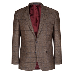 Magee 1866 Brown Herringbone Checked Classic Fit Blazer