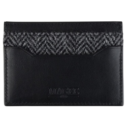 Magee 1866 Grey Herringbone Donegal Tweed & Leather Card Holder