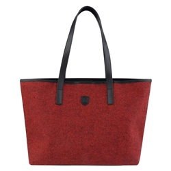 Magee 1866 Red Salt & Pepper Donegal Tweed Leather Tote Bag