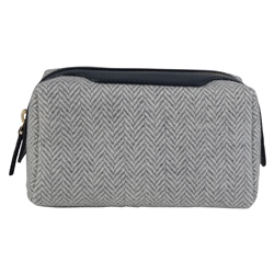 Magee 1866 Grey Herringbone Donegal Tweed & Leather Make-Up Bag