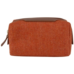 Magee 1866 Orange Donegal Tweed & Leather Make-Up Bag