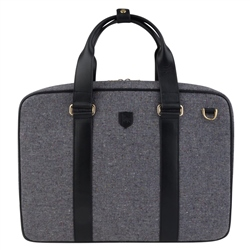 Magee 1866 Grey Salt & Pepper Donegal Tweed Leather Laptop Bag