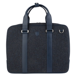 Magee 1866 Blue Salt & Pepper Donegal Tweed Leather Laptop Bag