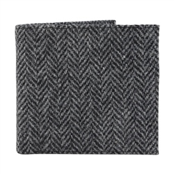 Grey Herringbone Donegal Tweed & Leather Wallet