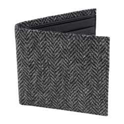 Magee 1866 Grey Herringbone Donegal Tweed & Leather Wallet