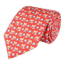 Magee 1866 Cheetah Print, Red Classic Silk Tie