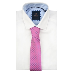 Dotted Print, Navy & Pink Classic Silk Tie