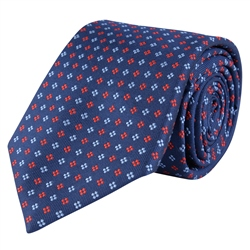 Magee 1866 Dotted Print, Navy & Red Classic Woven Silk Tie