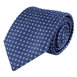 Magee 1866 Dotted Print, Blue & Pink Classic Woven Silk Tie