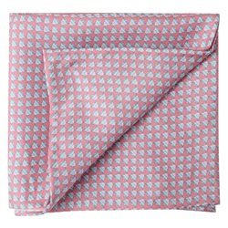 Magee 1866 Fish Print, Pink Silk Pocket Square