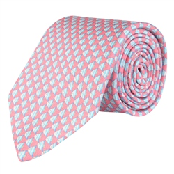 Magee 1866 Fish Print, Pink Classic Silk Tie