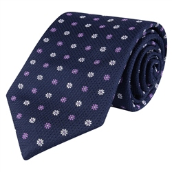 Magee 1866 Flower Print, Navy & Purple Classic Silk Woven Tie