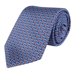 Magee 1866 Stirrups Print, Blue & Red Classic Silk Tie
