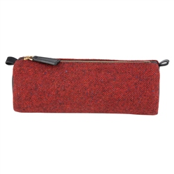 Magee 1866 Red Salt & Pepper Donegal Tweed & Leather Pencil Case