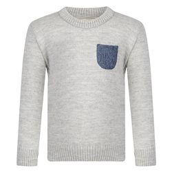Magee 1866 Boys Grey & Navy Donegal Tweed Patch Pocket Jumper