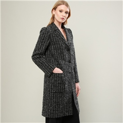 Magee 1866 Black & White Overcheck Emma Donegal Tweed Coat