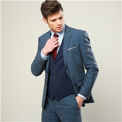 Magee 1866 Blue Micro Check 3 Piece Tailored Fit Suit