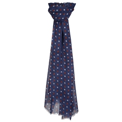 Magee 1866 Navy Wool Dotted Print Scarf