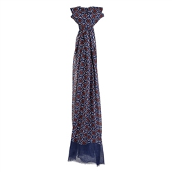 Magee 1866 Blue Floral Print Wool Scarf