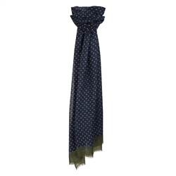 Magee 1866 Navy & Green Dotted Print Wool Scarf
