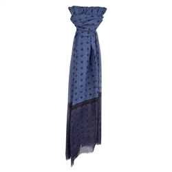 Magee 1866 Blue Dotted Print Wool Scarf