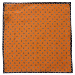 Magee 1866 Orange Flower Print Linen Pocket Square