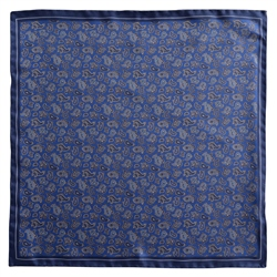 Magee 1866 Navy Paisley Design Silk Pocket Square