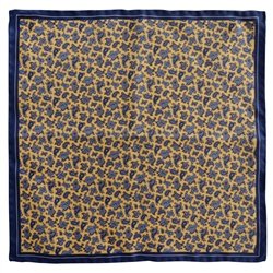 Magee 1866 Blue & Gold Paisley Design Silk Pocket Square