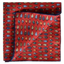Magee 1866 Bird Print, Red Silk Pocket Square