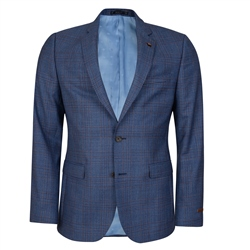 Magee 1866 Blue Checked 3 Piece Tailored Fit Suit