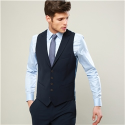 Navy Micro Design 3-Piece Tailored Fit Waistcoat
