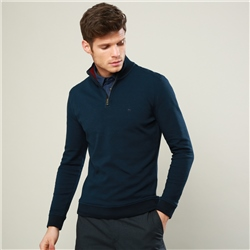 Magee 1866 Navy Edrim 1/4 Zip Classic Fit Sweater
