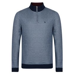 Magee 1866 Blue Edrim 1/4 Zip Classic Fit Sweater