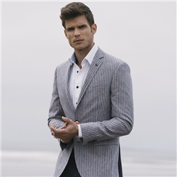 Magee 1866 Blue & Raspberry Striped Classic Fit Blazer