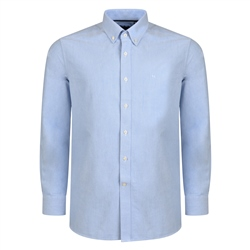 Blue Solid Oxford Button-Down Classic Fit Shirt