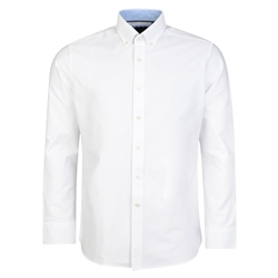 Magee 1866 White Solid Oxford Button-Down Classic Fit Shirt