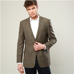 Magee 1866 Brown Country Check Herringbone Tweed Classic Fit Blazer