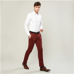 Magee 1866 Maroon Braide Washed Look Tailored Fit Trousers