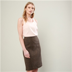 Magee 1866 Brown Herringbone Donegal Tweed Dana Skirt
