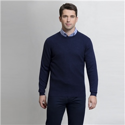 Magee 1866 Navy Faugher Cotton Structure Crew Neck Jumper