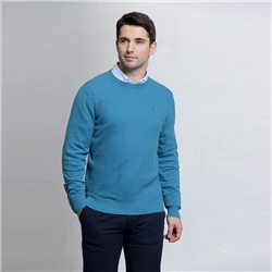 Magee 1866 Blue Faugher Cotton Crew Neck Classic Fit Jumper