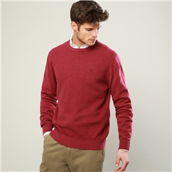 Magee 1866 Raspberry Faugher Cotton Crew Neck Classic Fit Jumper