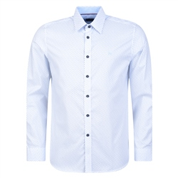 Magee 1866 White Dunaff Geometric Tailored Fit Shirt